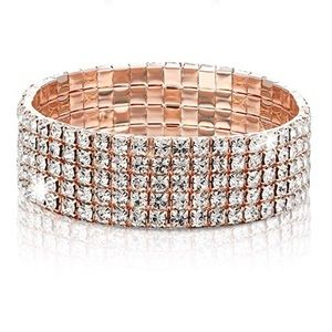 ROSE GOLD 5 ROW LUX CRYSTAL STRETCHY BRACELET